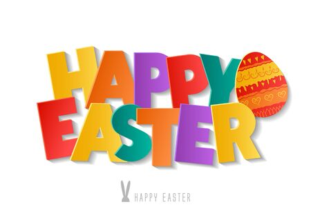 Concept for holiday vector inscription Happy Easter. Colorful 3d letters on white background.