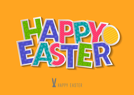 Concept for holiday vector inscription Happy Easter. Colorful 3d letters with hatching on yellow background.