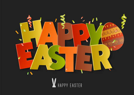 Concept for holiday vector inscription Happy Easter. Colorful 3d letters with confetti on a black background.