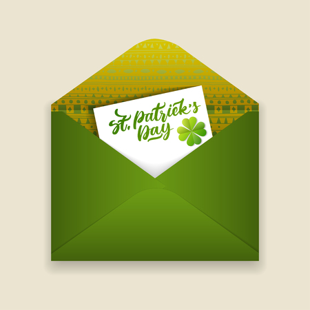 Vector holiday illustration on March 17. Open green envelope of patterned paper and card with the words St, Patricks Day inside. Illustration