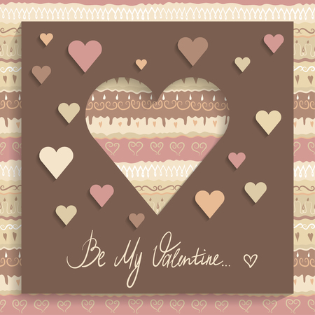 Concept of greeting card for Valentines Day on 14 February. Brown paper with cut out heart, applique and hand-written words Be My Valentine. Illustration