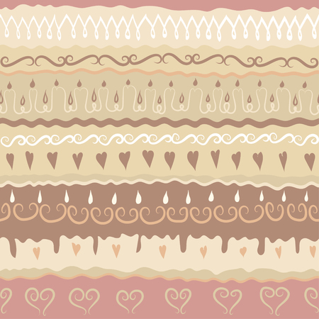 Vector festive hand drawn seamless pattern. Subject of Birthday or Wedding cake, Valentines Day, biscuit. Coffee colors.