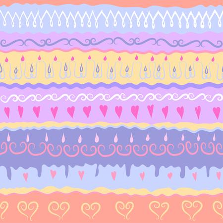 Vector festive handdrawn seamless pattern. Subject of Birthday Party. Illustration