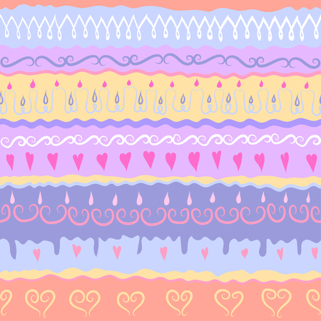 Vector festive handdrawn seamless pattern. Subject of Birthday Party. Illustration