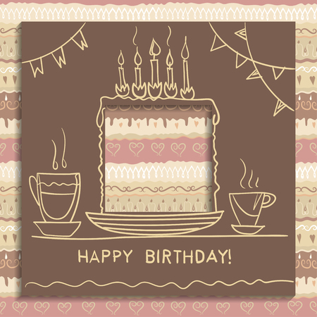 Concept of birthday card. Paper square with a hole cut out and handwritten drawing of a holiday cake, biscuit with candles. Seamless decorative pattern of coffee colors on the background. Illustration