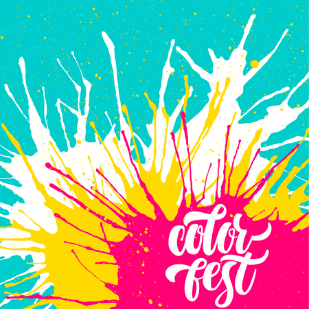 Vector template for color festival. Handwritten lettering on the background of blots. Concept for square cards, flyers, invitations, posters.