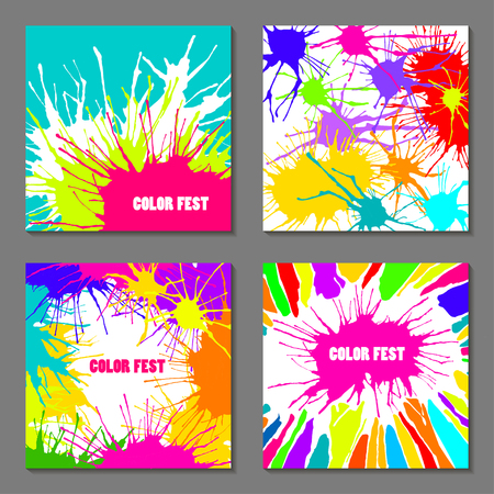 Set of square vector templates for color festival. Concept for cards, flyers, invitations, posters with multicolored blots. Illustration