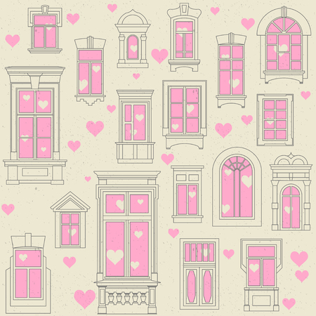 Seamless vector festive pattern of different old windows. Concept for Valentines Day 14 February. White background, black outline, pink elements.