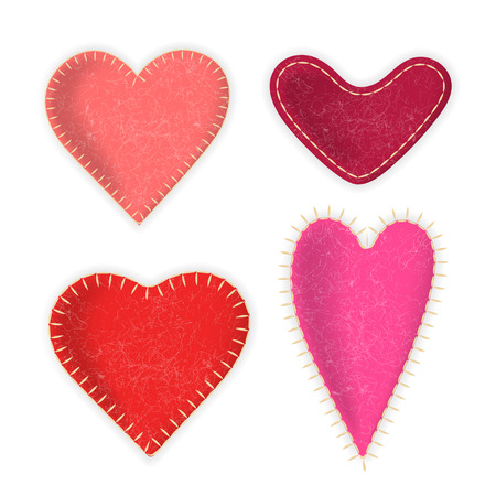 Vector collection of felt realistic red hearts. For design on Valentines Day and weddings. Illustration