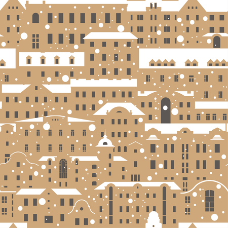 Seamless vector Christmas winter vintage pattern. Beige buildings with snow-covered white roofs and snowfall.