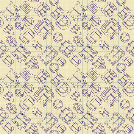 Vector seamless pattern of different vintage decorative metal buckles for belts and clothing. Blue line on a background of graph.