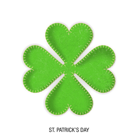 Vector realistic clover made of plush fabric and threaded. The concept for St. Patricks Day.