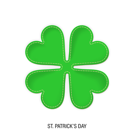 Vector realistic clover made of fabric and threaded. The concept for St. Patrick's Day. Illusztráció