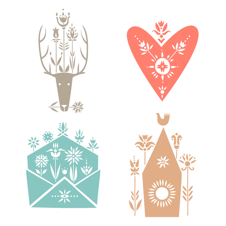 Vector set of spring elements. Deer, heart, envelope, birdhouse.