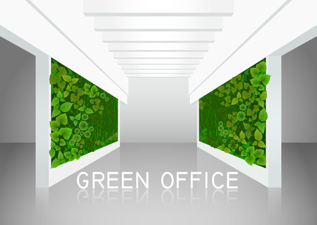 Vector illustration about vertical landscaping of walls in office and home. White modern interior with two green walls overgrown with plants.