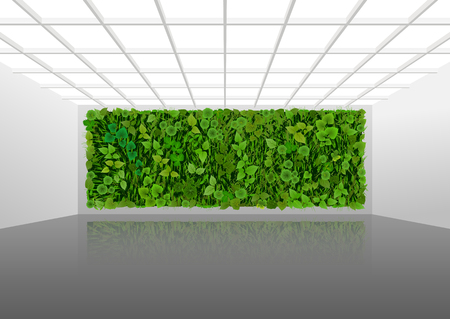 Vector illustration about vertical landscaping of walls in office and home. White modern interior with green wall overgrown with plants.