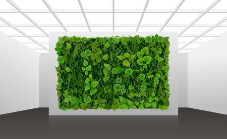 Illustration about vertical landscaping of walls in office and home. White modern interior with green wall overgrown with plants.