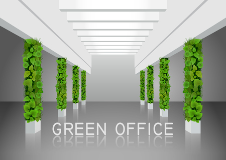 Vector illustration about vertical landscaping of walls in office and home. White modern interior with green columns overgrown with plants.