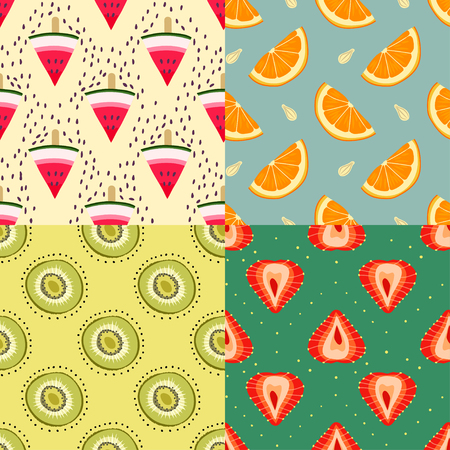 Vector set of four summer colorful seamless hand-drawn patterns of watermelon, kiwi, orange, strawberry and seeds.
