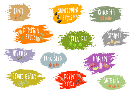 A Vector set of trendy emblems with beans and seeds and lettering. For packaging and advertising healthy food.