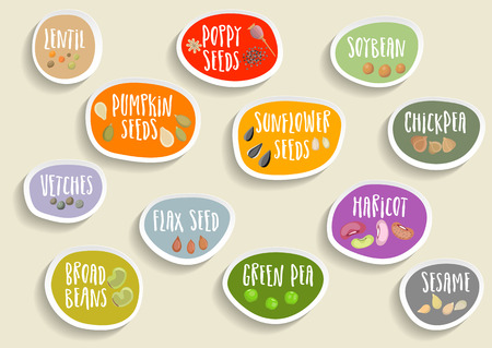 A Vector set of trendy colorful paper stickers with beans, seeds and lettering. For packaging and advertising healthy food. Ilustração