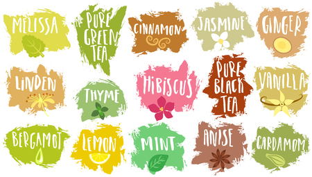 A Vector set of trendy emblems for tea packing. Various natural additives for drinks with handwritten annotation on blots.
