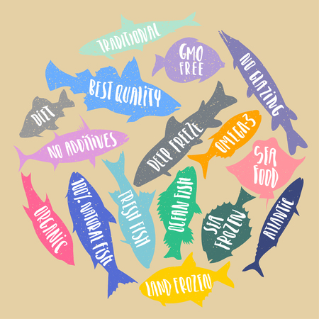 A Vector set of stylized fish with handwritten lettering in the form of circle on a cardboard background. Poster, banner, sticker for fresh, organic, natural sea food.