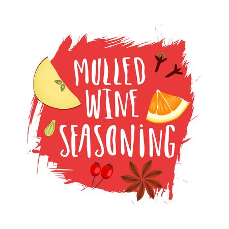 Mulled wine seasoning illustration on red background