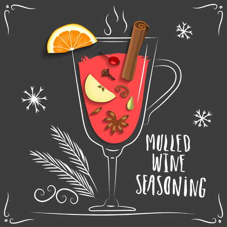 Vector illustration of mulled wine. Hand drawn wineglass with seasoning and fruits on black background. Illustration