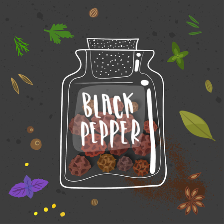 Vector illustration of black pepper on black background with other seasonings.