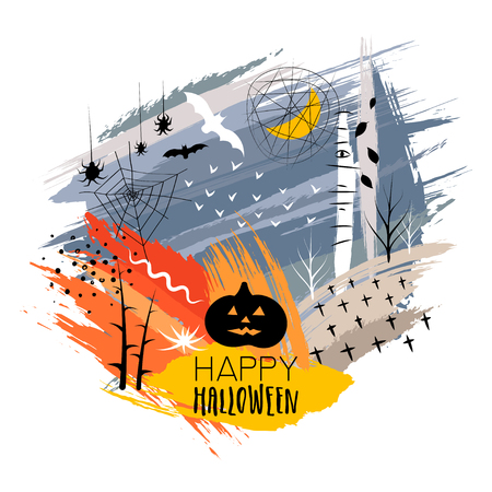 Vector hand drawn print for Halloween. Silhouettes of pumpkin, crosses, spiders, bats on background of colorful brush smears. Illustration