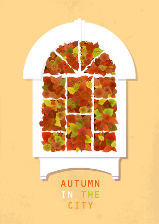 Vector flat illustration about autumn and gardening. White ancient arched window with green and red leaves of various plants. Illustration