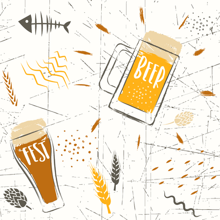Seamless vector hand-drawn pattern of beer fest. Stylized beer glasses and grains on a white background.