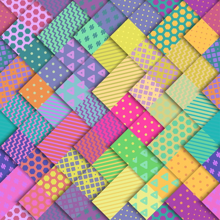Seamless vector colorful bright pattern. Paper squares of different colors with ornaments lying on each other. Holiday packages, wallpaper, background.