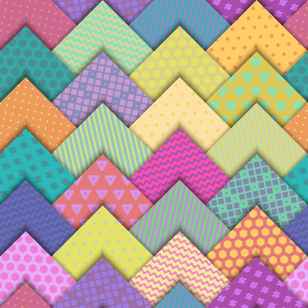 A Seamless vector colorful bright pattern. Paper squares of different colors with ornaments lying on each other. Holiday packages, wallpaper, background. Illustration