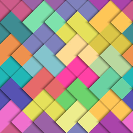 Seamless colorful bright pattern. Paper squares of different colors lying on each other.