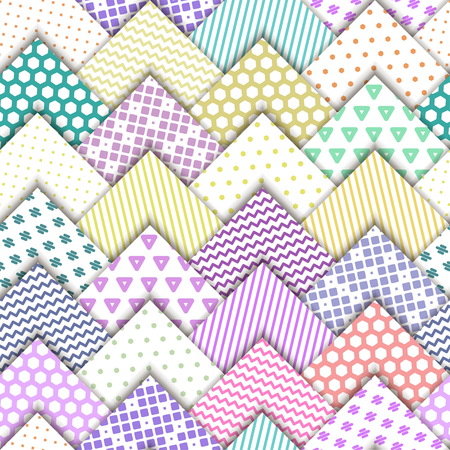 Seamless colorful pattern. Paper white squares with color ornaments lying on each other.