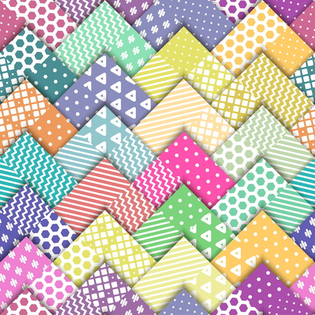 A Seamless vector colorful bright pattern. Paper squares of different colors with white ornaments lying on each other. Holiday packages, wallpaper, background.