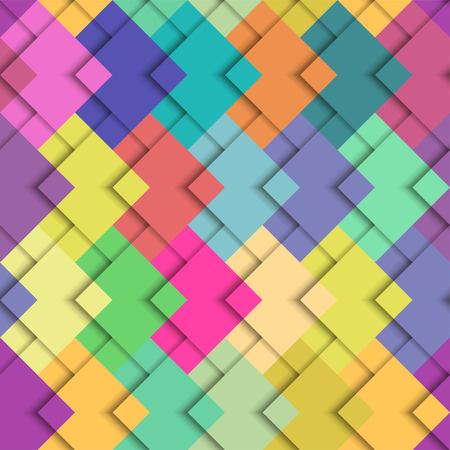 Seamless vector colorful bright pattern. Paper squares of different colors lying on each other. Corporate background, wallpaper.