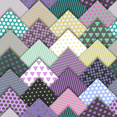 A Seamless vector vintage pattern. Paper gray squares with colorful ornaments lying on each other. Holiday packages, wallpaper, background.