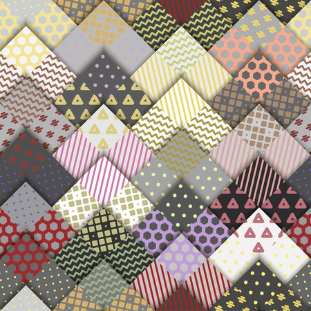 Seamless vintage pattern. Paper gray squares with colorful ornaments lying on each other.