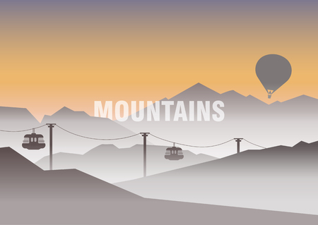 Vector illustration of travel in the mountains, tourism, nature. Morning hilly landscape on a background of dawn. Cable car and balloon in the fog. For advertising, web template, poster.