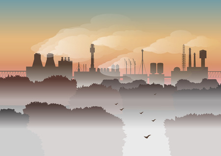Environmental vector illustration. Trees and factory with smoke in fog on background of sunrise. Protection of environment, urban landscape, ecology, air pollution, exhaust fumes, autumn morning.