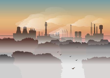 Umwelt Vektor-Illustration. Bäume und Fabrik mit Rauche im Nebel auf Hintergrund des Sonnenaufgangs. Umweltschutz, Stadtlandschaft, Ökologie, Luftverschmutzung, Abgase, Herbstmorgen.