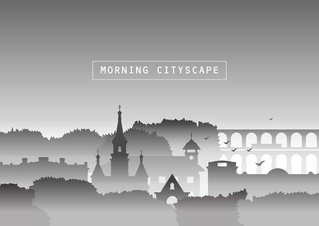 Vector illustration. Silhouettes of the church, old houses, trees and bridge in fog. Smog, autumn urban landscape. Template for site, tourist brochures, black and white version.