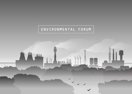Illustrazione vettoriale ambientale. Alberi e fabbrica con fumo nella nebbia. Protezione dell'ambiente, paesaggio urbano, ecologia, inquinamento atmosferico, gas di scarico, mattina d'autunno. Bianco e nero.