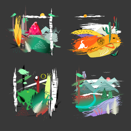 Four colorful hand drawn illustrations of nature theme on black background.