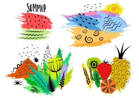 Vector set of hand drawn summer and nature themes on colored blots.