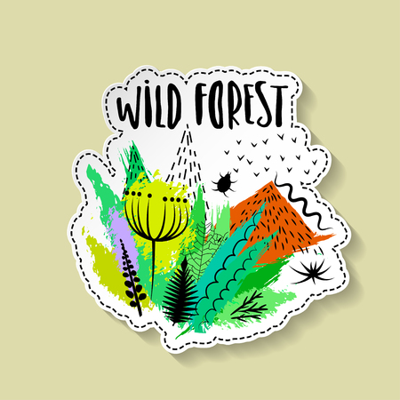 Vector hand drawn paper sticker with summer wild forest.
