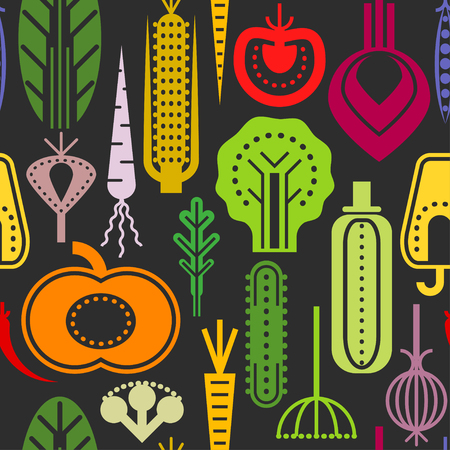 Seamless trendy pattern with color geometric vegetables on black background.